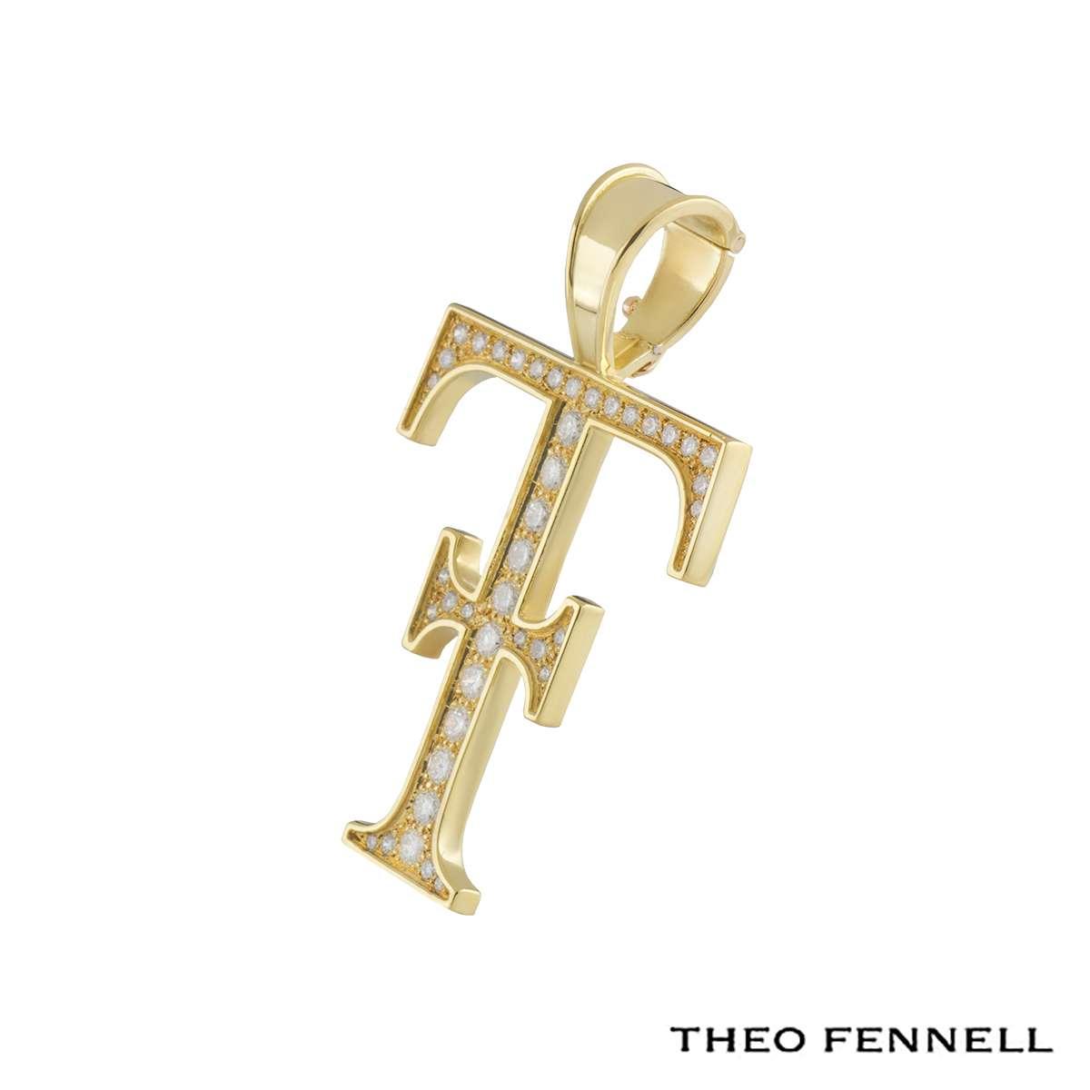 Theo Fennell Logo 18k Yellow Gold Diamond Pendant 1.09ct